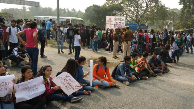 AEC students staging protest on NH 37 in Guwahati.