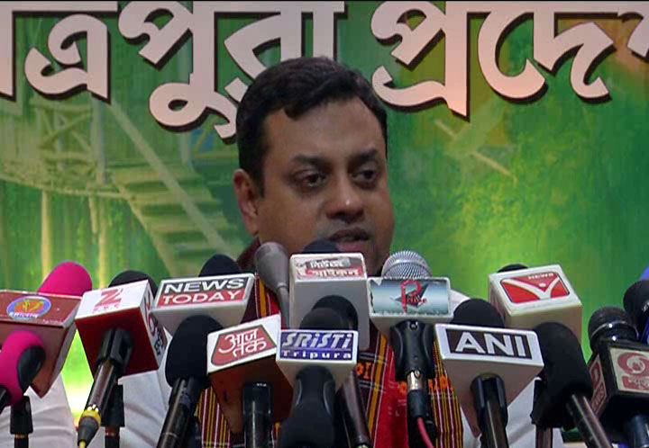 BJP national spokesperson Dr Sambit Patra addressing media in Agartala on Sunday. Photo by Pinaki Das