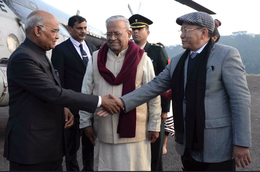 Nagaland Governor and Chief Minister welcoming President Ram Nath Kovind in Kohima.