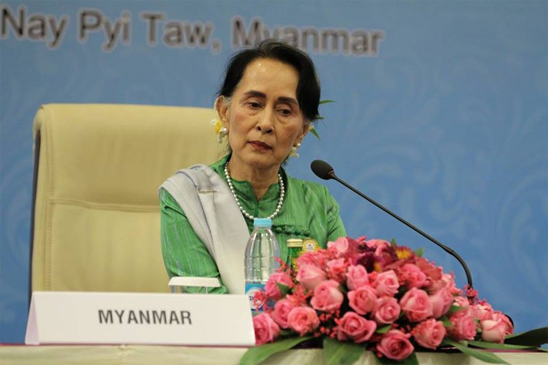 Myanmar State Counsellor and Foreign Minister Aung San Suu Kyi talks to the media during a press conference at the 13th Asia Europe Foreign Ministers Meeting (ASEM) in Nay Pyi Taw on November 21, 2017. Photo: Thura/Mizzima