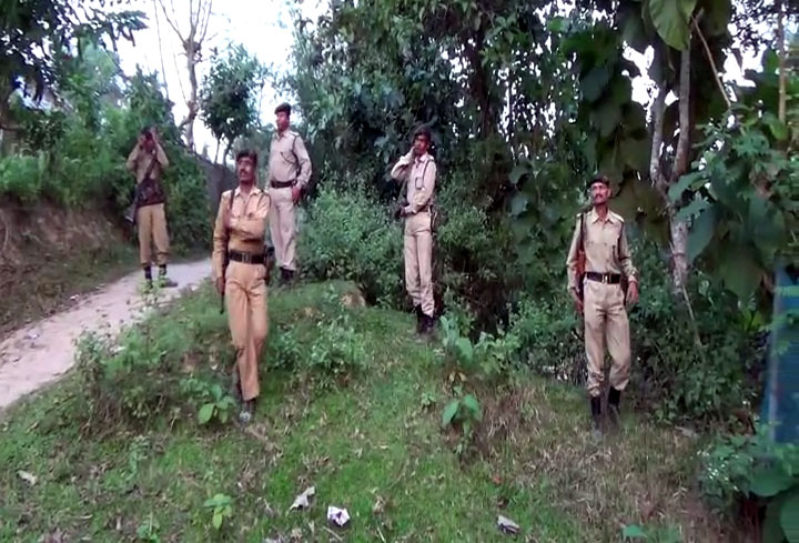 Search operation by police to find out abducted bank employees in Tripura. Photo by Pinaki Das
