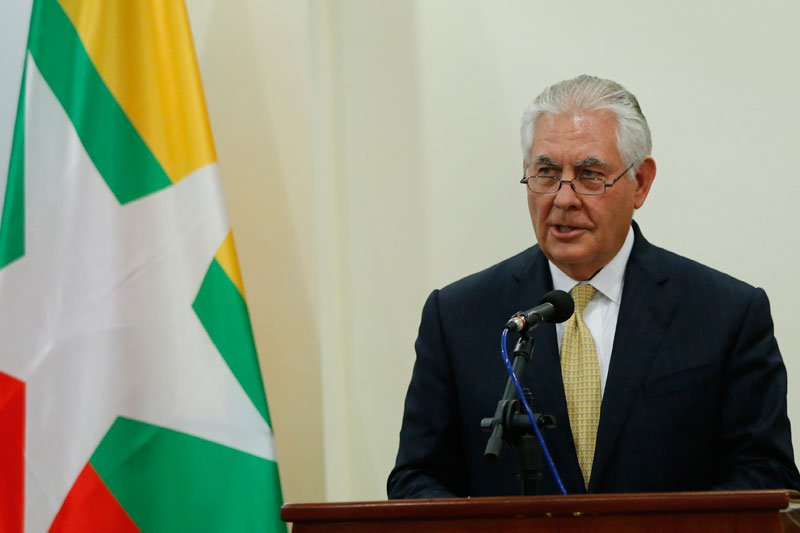 US Secretary of State Rex Tillerson speaks to the media during a joint press conference with Myanmar State Counsellor Aung San Suu Kyi (not pictured) after their meeting at the Ministry of Foreign Affairs in Naypyitaw, Myanmar. Photo: EPA-EFE
