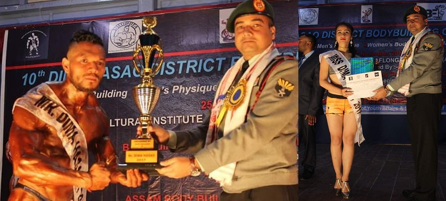 Col. Gagan Pandey giving away the prizes to Mr Dima Hasao, 2017 Pranab Langthasa (Left) and Miss Dima Hasao, 2017 to Susmita Sarma (Right) at Haflong in Dima Hasao district on Saturday. Photo by Pankaj Kumar Deb