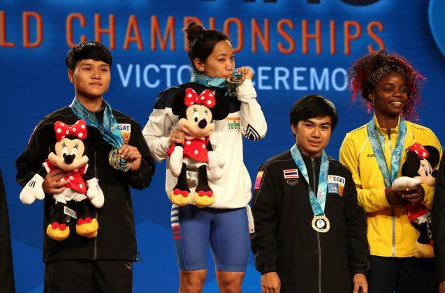 Mirabai Chanu Saikhom wins gold medal at World Weightlifting Championship in Anaheim, USA.