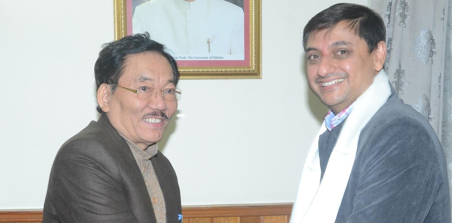 Principal Economic Advisor to Govt. of India Sanjeev Sanyal meets Sikkim Chief Minister Pawan Chamling on Thursday in Gangtok. Photo by Sagar Chhetri