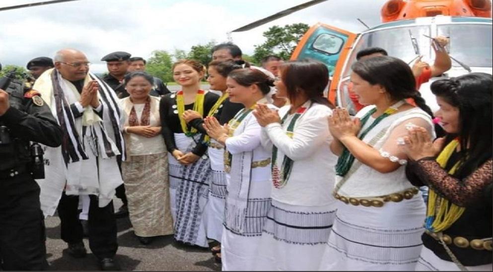 President Ram Nath Kovind being greeted in Itanagar.