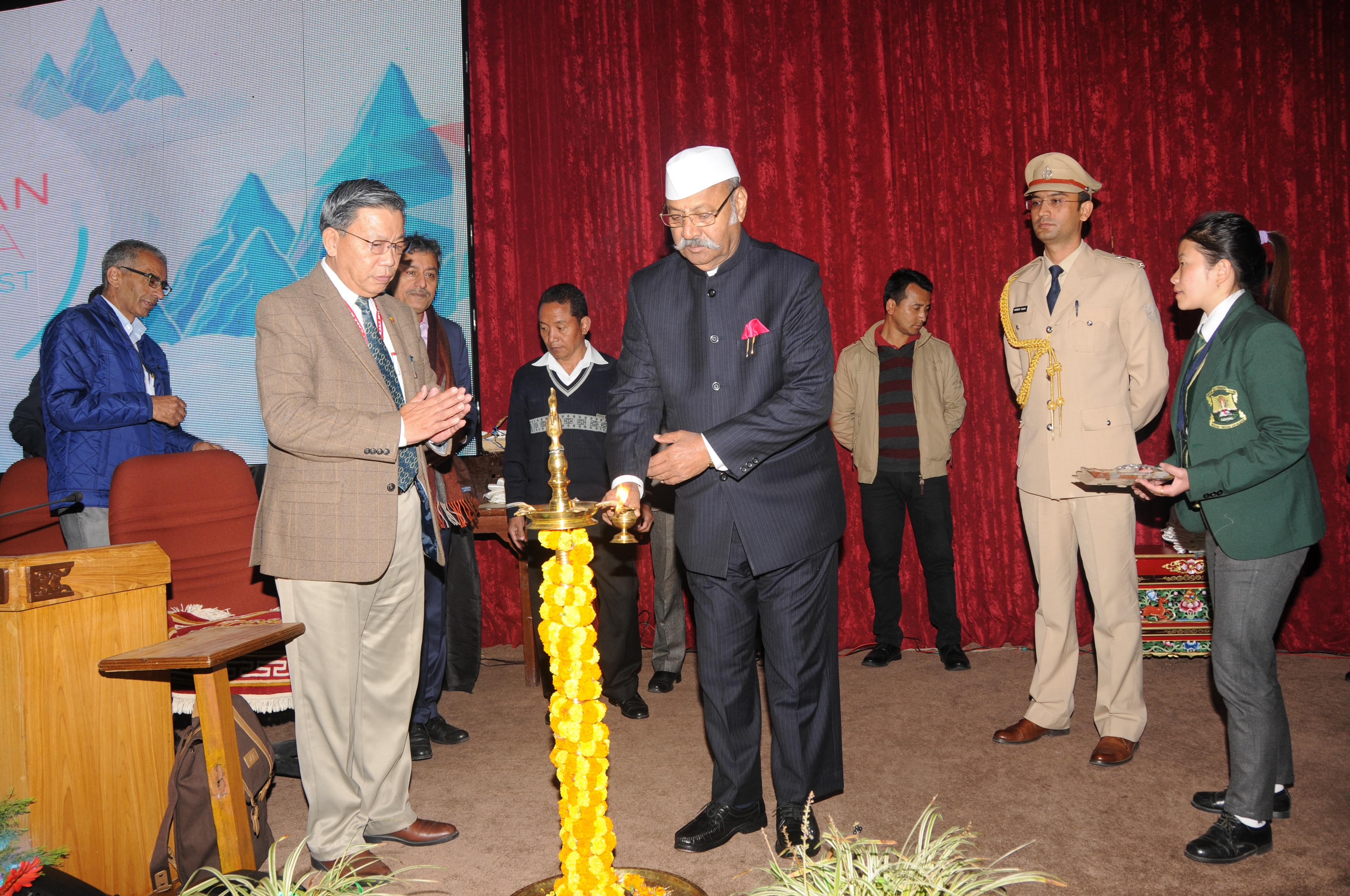 Sikkim Governor Shriniwas Patil  lighting the ceremonial lamp at the concluding day of Kanchanpanda Start-up Fest 2017 on Saturday. Photo by Sagar Chhetri