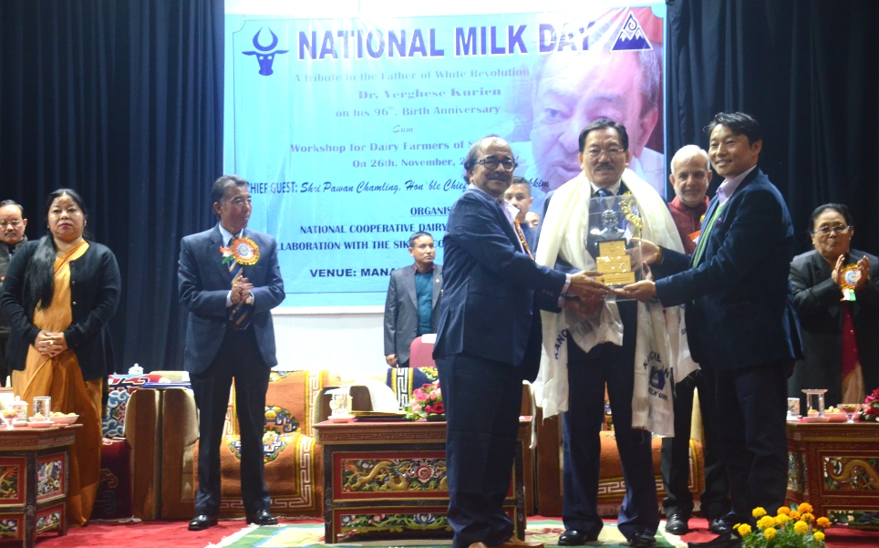 Sikkim chief minister Pawan Chamling on the occasion of National Milk Day. Photo by Sagar Chhetri