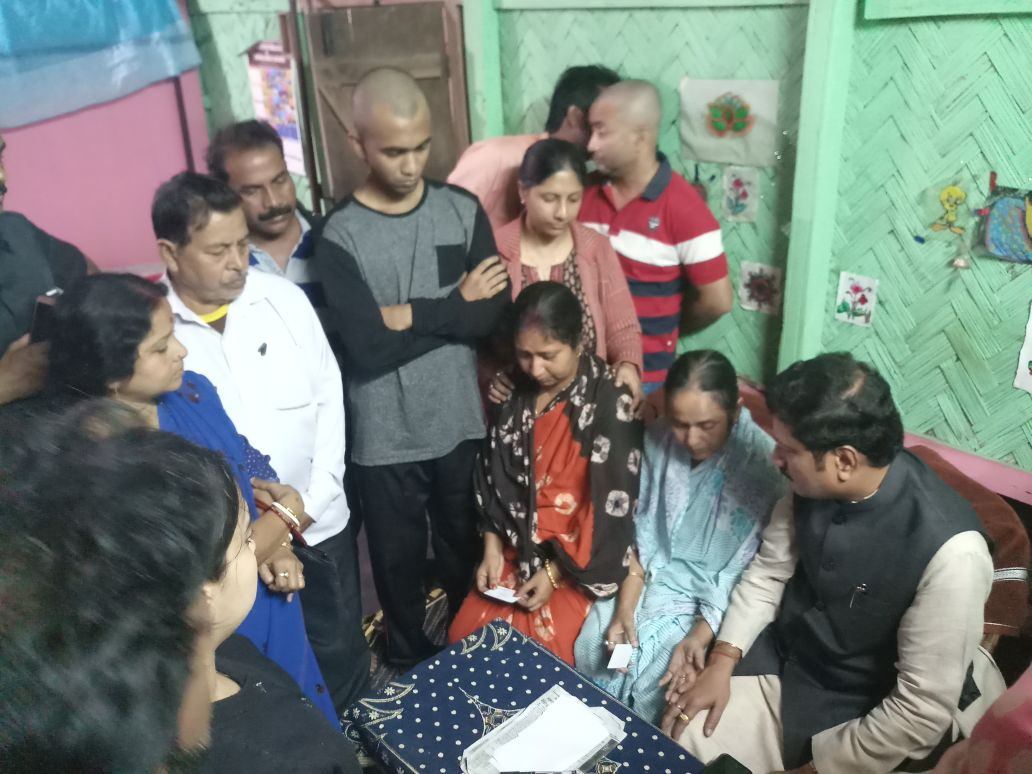 Trinamool Congress  legislator from West Bengal Sabyasachi Dutta, in-charge of Tripura, accompanied by state party leaders on Tuesday visits slain journalist Sudip Dutta Bhowmik's home. Photo: Pinaki Das