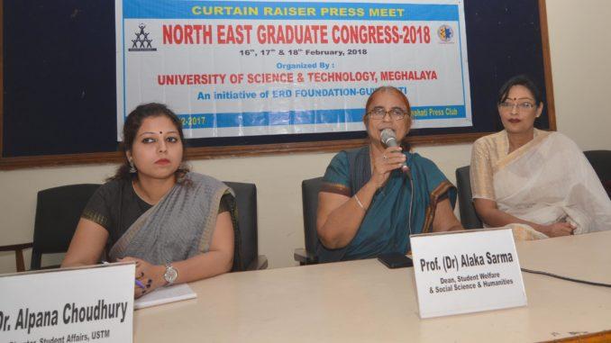 Prof. (Dr) Alaka Sarma Dean,Student Welfare n Social Science n Humanities addresing Curtain Raiser press meet North East Graduate Congress2018 at Guwahati Press Club on 18-12-17.