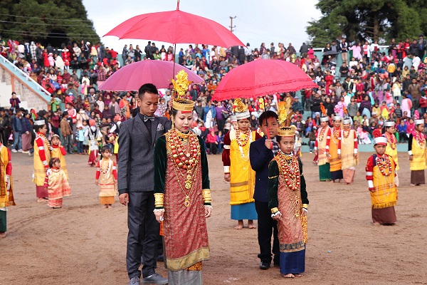 Royal heiress of the Khyrim syiemship (chiefdom) performing at the penultimate day of the Nongkrem Dance festival at Smit village in Meghalaya on December 11, 2017. Pix by UB Photos
