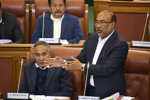 File image of Manipur chief minister N Biren Singh in Assembly. Image: DIPR