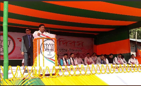 Chief Minister Sarbananda Sonowal speaking at the meeting in Sarupeta on Sunday.