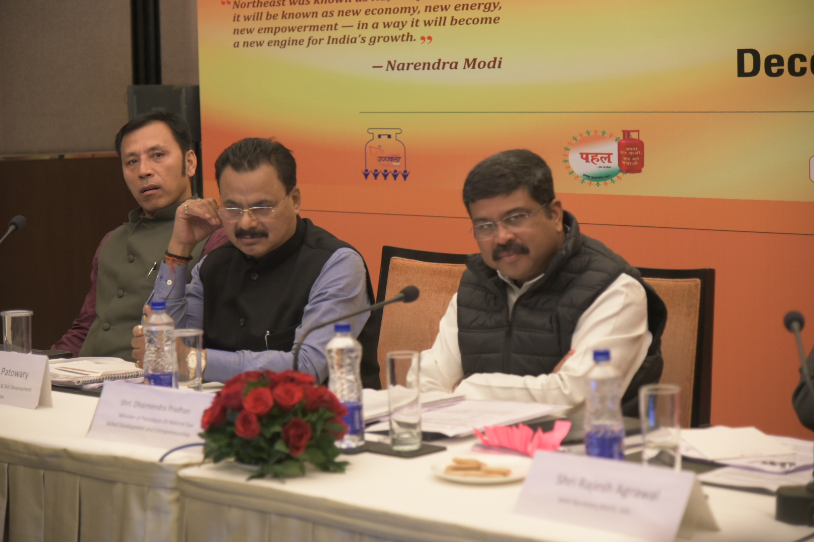 Union Minister Dharmendra Pradhan with Minister Chandra Mohan Patowary at the review meeting in Guwahati.