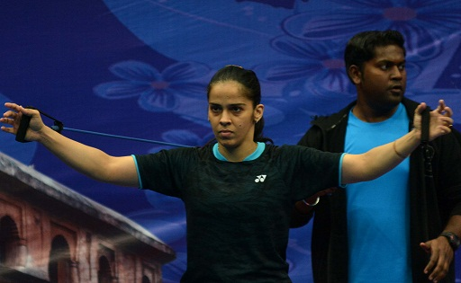 Olympic bronze medalist Saina Nehwal   of Awadhe Warriors during a warm up  session for upcoming Vodafone Premier Badminton League (PBL) 2017-18 at Guwahati on Thursday. Premier Badminton League season 3 will start from December 23 and will be hosted in five cities this time, with Guwahati ,Delhi, Lucknow, Chennai and Hyderabad. Photo: UB Photos Representative image