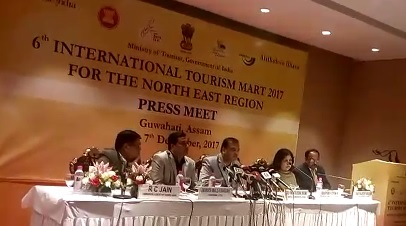 Assam tourism minister Himanta Biswa Sarma addressing media during International Tourism Mart in Guwahati on Wednesday. Photo : NE NOW NEWS BUREAU
