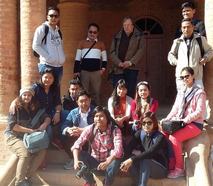 Journalists from various parts of Myanmar along with Bertil Lintner, eminent Swedish author posing for lensmen at Kangla Fort in Imphal on December 1, 2017.