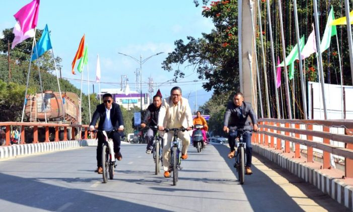 Manipur Minister Karam Shyam pedals to office 1