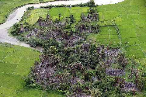 File picture of an aerial view showing the burnt out village near Maungdaw township in Rakhine State, western Myanmar. Photo : Mizzima News