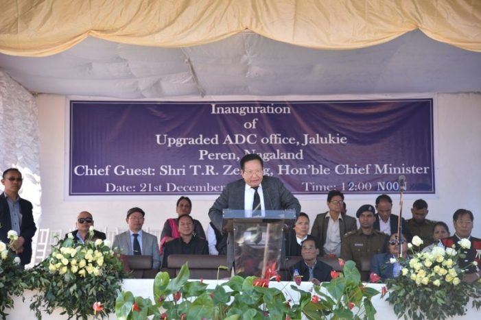 Chief Minister TR Zeliang speaking during the up-gradation programme of ADC Headquarter of Jalukie on December 21. (CMO Photo)