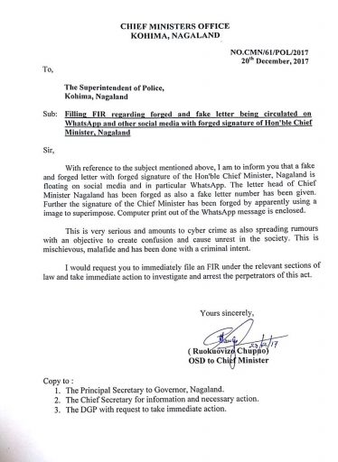 Nagaland Chief Minister's office files FIR against fake and forged letter 1
