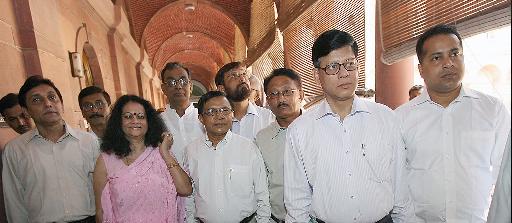 PCG members with eminent novelist Mamoni Raisom Goswami. (File photo)