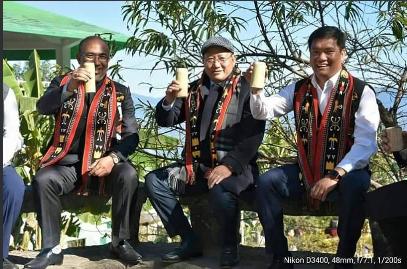Manipur CM N Biren, Singh Nagaland CM TR Zeliang and Arunachal Pradesh CM Pema Khandu  during the Hornbill Festival in Kisama on Tuesday.