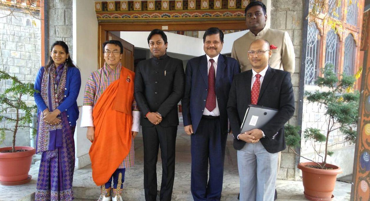 Assam Power Minister Pallab Lochan Das with Bhutan Economic Affairs Minister Lyonpo Lekey Dorji in Thimphu on Tuesday.