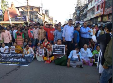 Locals staging road blockade at Paltan Bazar in Guwahati