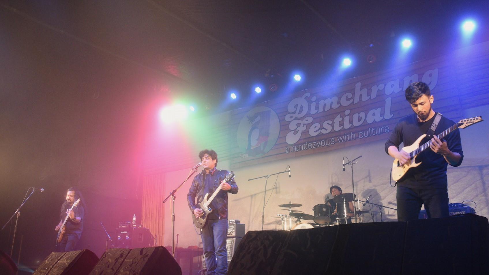 Rock band Spunk from Mumbai performing at Dimchrang festival in South West Garo Hills, Meghalaya. Photo : Saidul Khan
