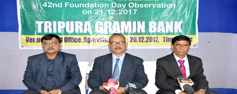 Tripura Gramin Bank chairman Mahendra Mohan Goswami apprising the media about the 42nd foundation day