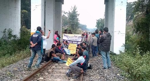 Agitating teachers resort to rail blockade in Tripura on Friday. Photo : Pinaki Das
