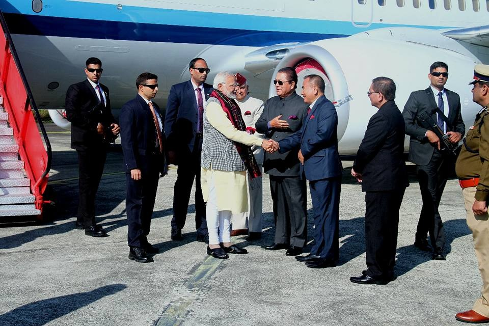 File picture of Prime Minister Narendra Modi being greeted by Mizoram CM Lal Thanhawla in Mizoram on December 16, 2017. Photo : S Hmar
