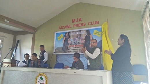 Zoram People's Movement unveiling people's basket in Aizawl to raise election fund. Photo : S Hmar