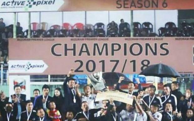 Jubilant Chhinga Veng FC players after winning the Mizoram Premier League. Photo : S Hmar
