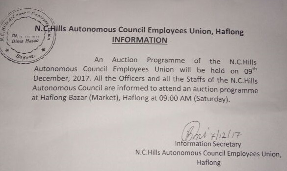 Dima Hasao Autonomous Council employees to auction off their belongings on December 9 to save families from starvation 1