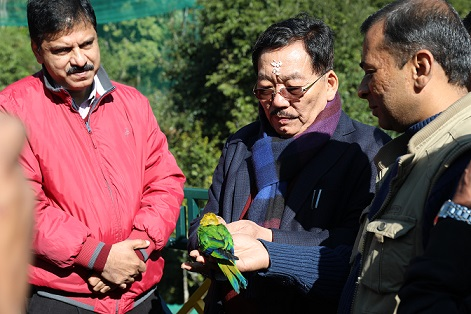 Sikkim chief minister Pawan Chamling after inaugurating the bird park. Photo : Sagar Chhetri