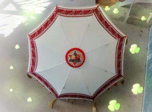 Akshendra Kalita creates umbrella made of Gamusa and Jaapi 1