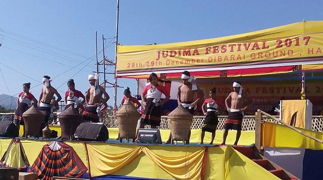 A view of colourful start to Judima festival in Haflong on Thursday. Photo : Pankaj Kumar Deb