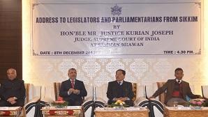 Justice Kurian Joseph addressing legislators and parliamentarians from Sikkim on December 8 in Gangtok.