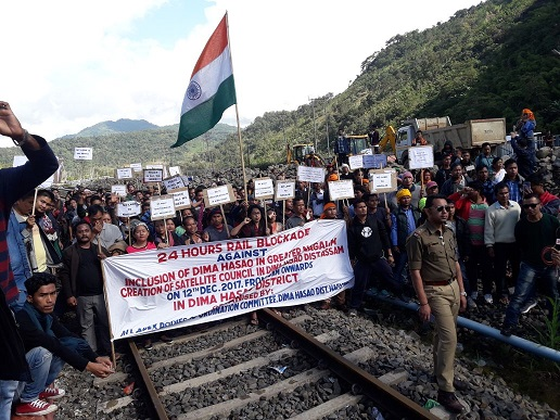 A view of rail blockade by the All Apex Body Coordination Committee at New Haflong railway station on Tuesday. Photo : Pankaj Kumar Deb
