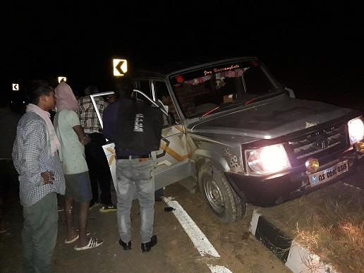 The ill-fated vehicle that hits the divider on NH-27 in Dima Hasao. Photo: Pankaj Kumar Deb