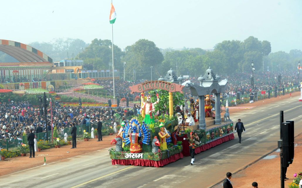 The Assam  tableau displays Majuli Mask during 69th Republic Day at Rajpath ,new delhi on 26-01-18.pix by ub photos Representative image