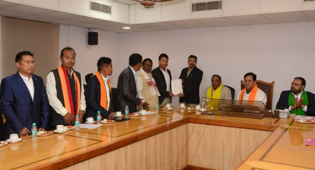 Assurance letter being given to NCHAC CEM Debalal Garlosa during a meeting at CM's Conference Room in Janata Bhawan in Guwahati.