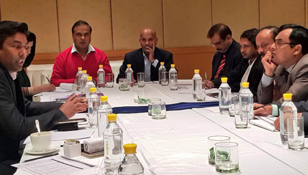 Assam Finance, Education and Health Minister Himanta Biswa Sarma attending the meeting of the 2nd South Asian Regional Badminton Federation (SABF) in Delhi on Tuesday.