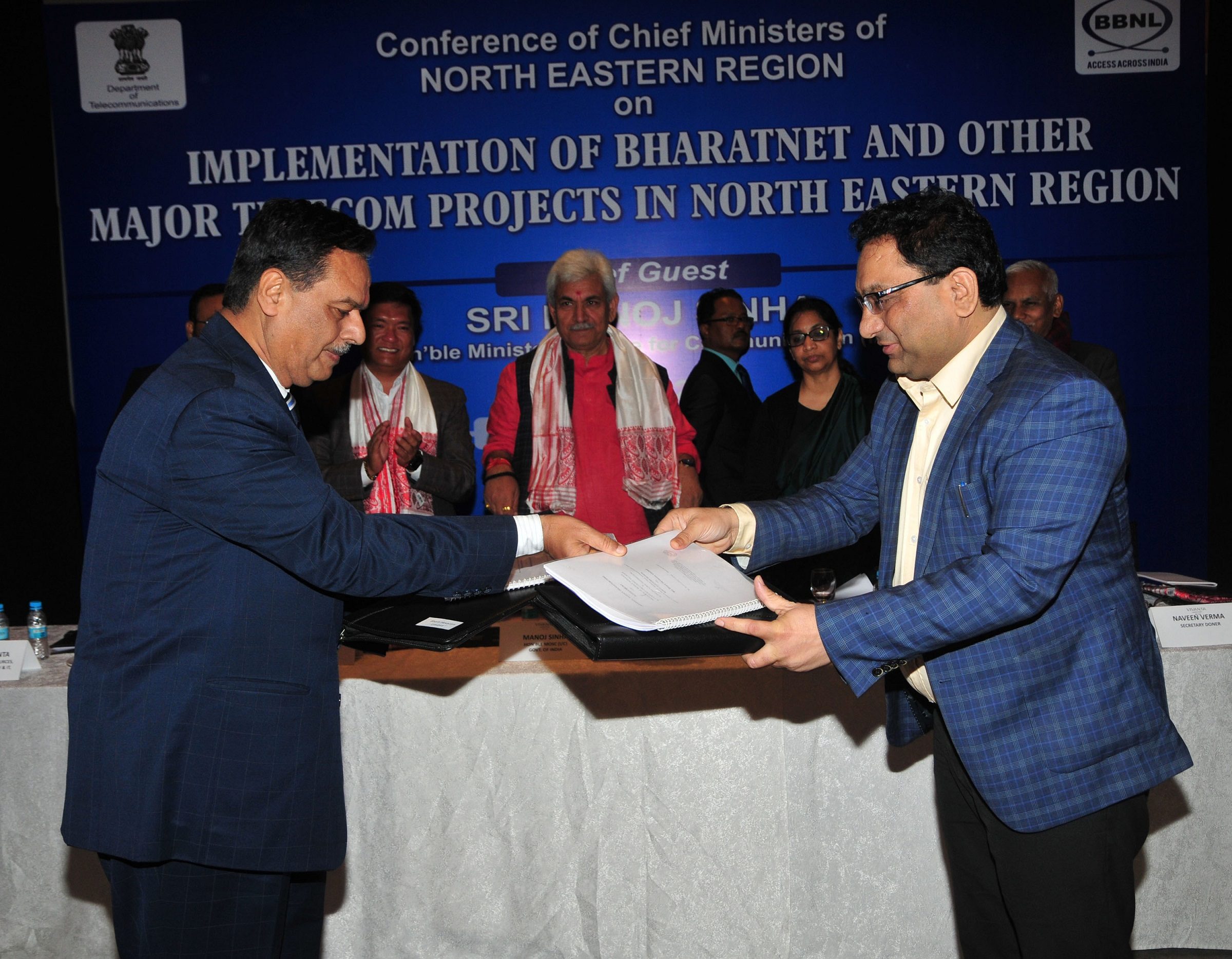 Signing MOU between BSNL and Airtel at   the conference on Implementation of Bharat Net and other Major Telecom Projects in North Eastern Region in Guwahati on 16-01-18. Pix by UB Photos