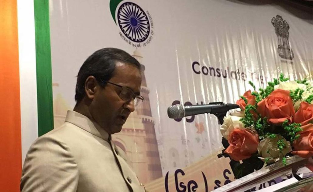 Consul General of India, Mandalay, Nandan Singh Bhaisora addressing a gathering on the occasion of India's 69th Republic Day celebration in Mandalay on January 26.