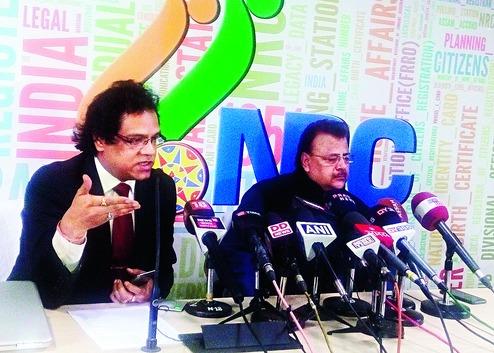File photo of NRC coordinator Prateek Hajela (left) and RGI Sailesh addressing a press conference at NRC office in Guwahati. File photo: Northeast Now