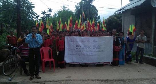 Protest seeking deportation of illegal Chakmas from Mizoram. File photo