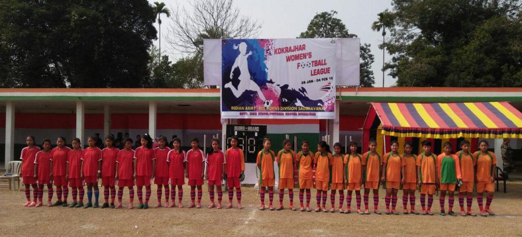 Women players getting ready at Kokrajhar.